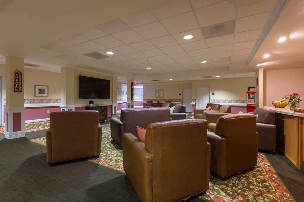 Home theater at The Brookside Assisted Living Community