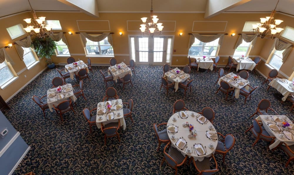 Community dining room at All American Assisted Living at Hanson
