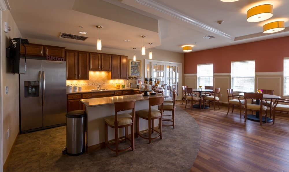 Spacious kitchen and dining room at All American Assisted Living at Hanson