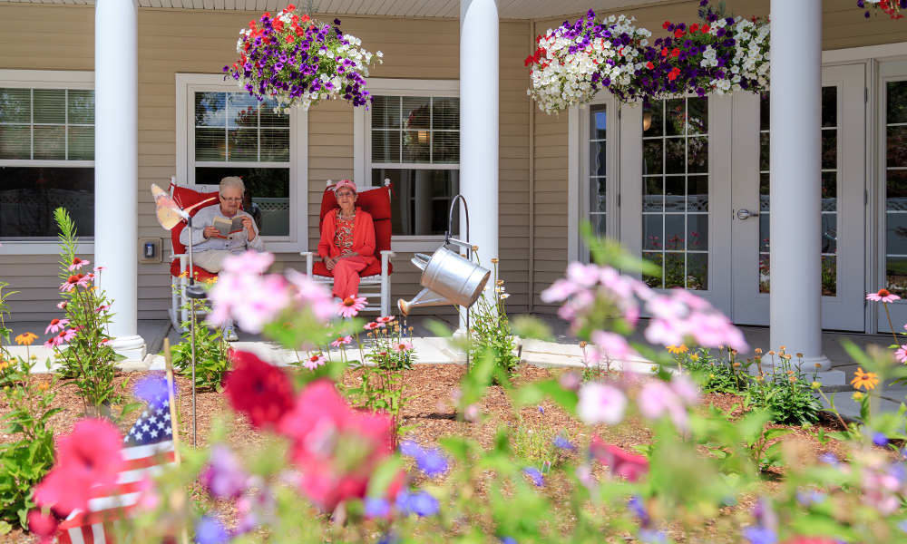 Beautiful garden at All American Assisted Living at Wrentham