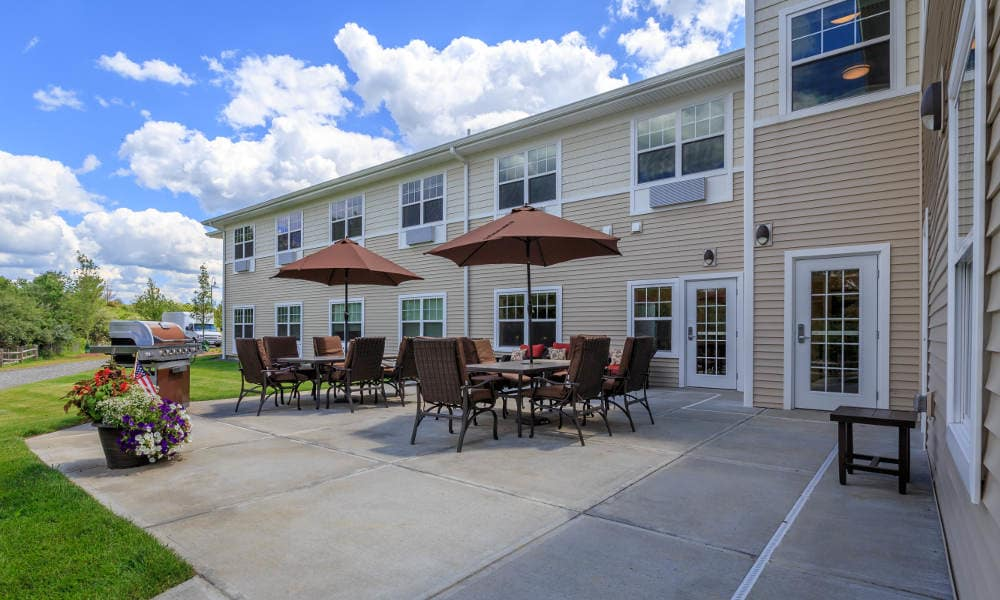 Spacious exterior areas at All American Assisted Living at Wrentham