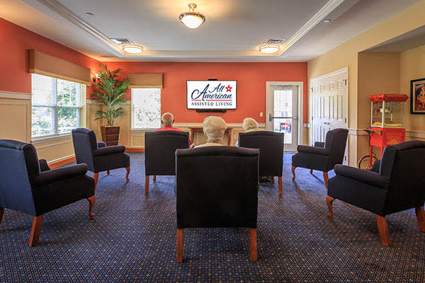 Take in a movie with friends at All American Assisted Living at Warwick   East Natick Warwick  RI Senior Living   All American Assisted  . Cost Of Assisted Living In Nova Scotia. Home Design Ideas