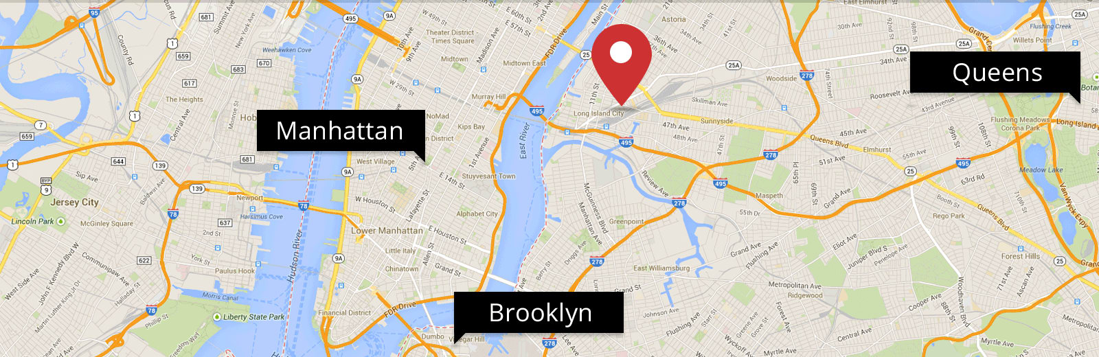 Map showing CitiWide Self Storage's location in Long Island City.