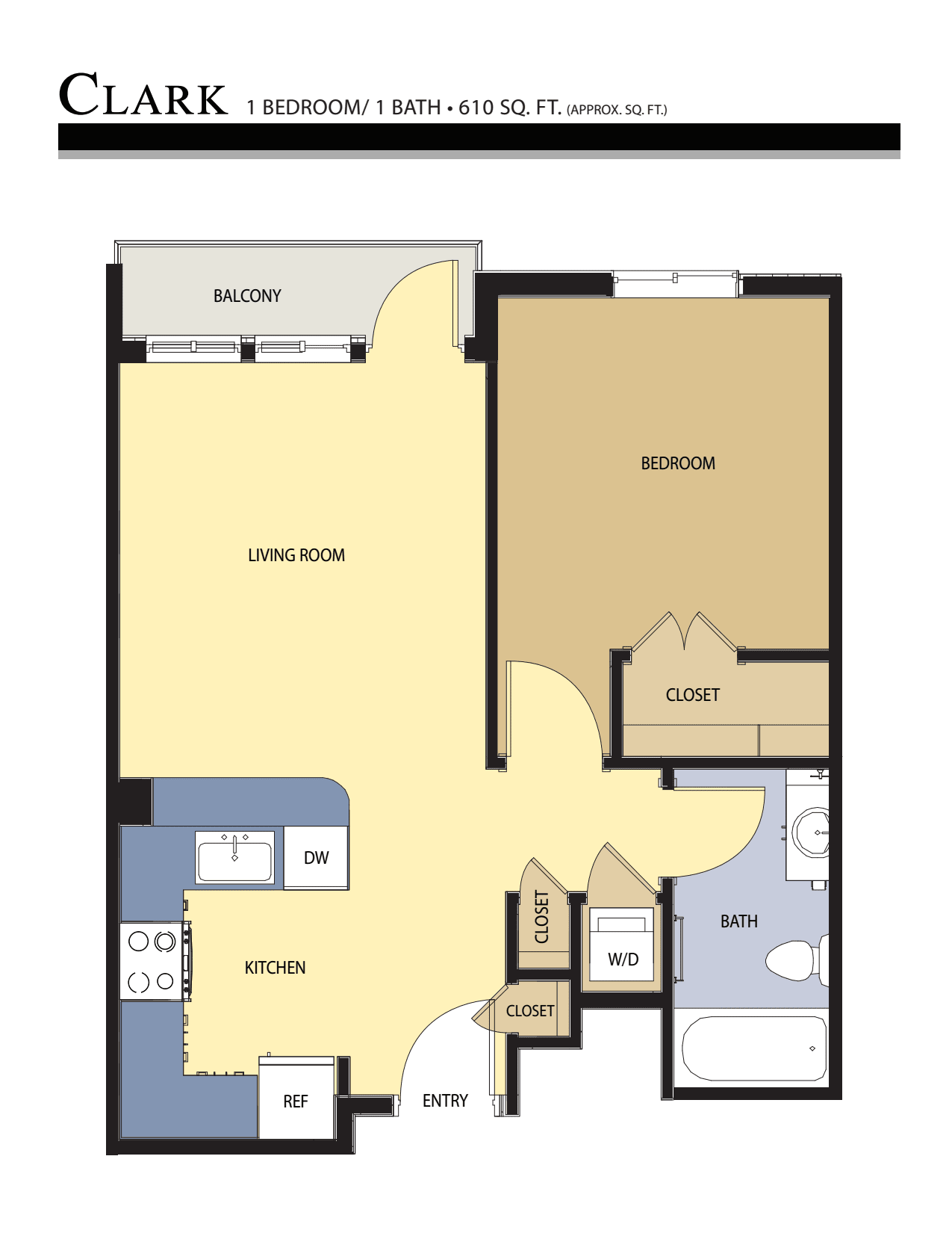 Clark floor plan - 1 Bed / 1 Bath (610 Sq Ft)