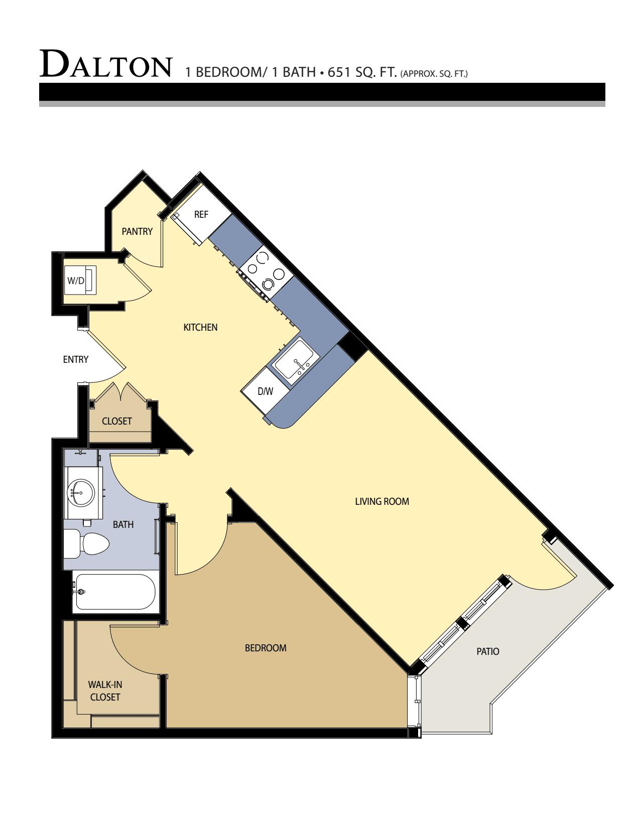 Dalton floor plan - 1 Bed / 1 Bath (651 Sq Ft)
