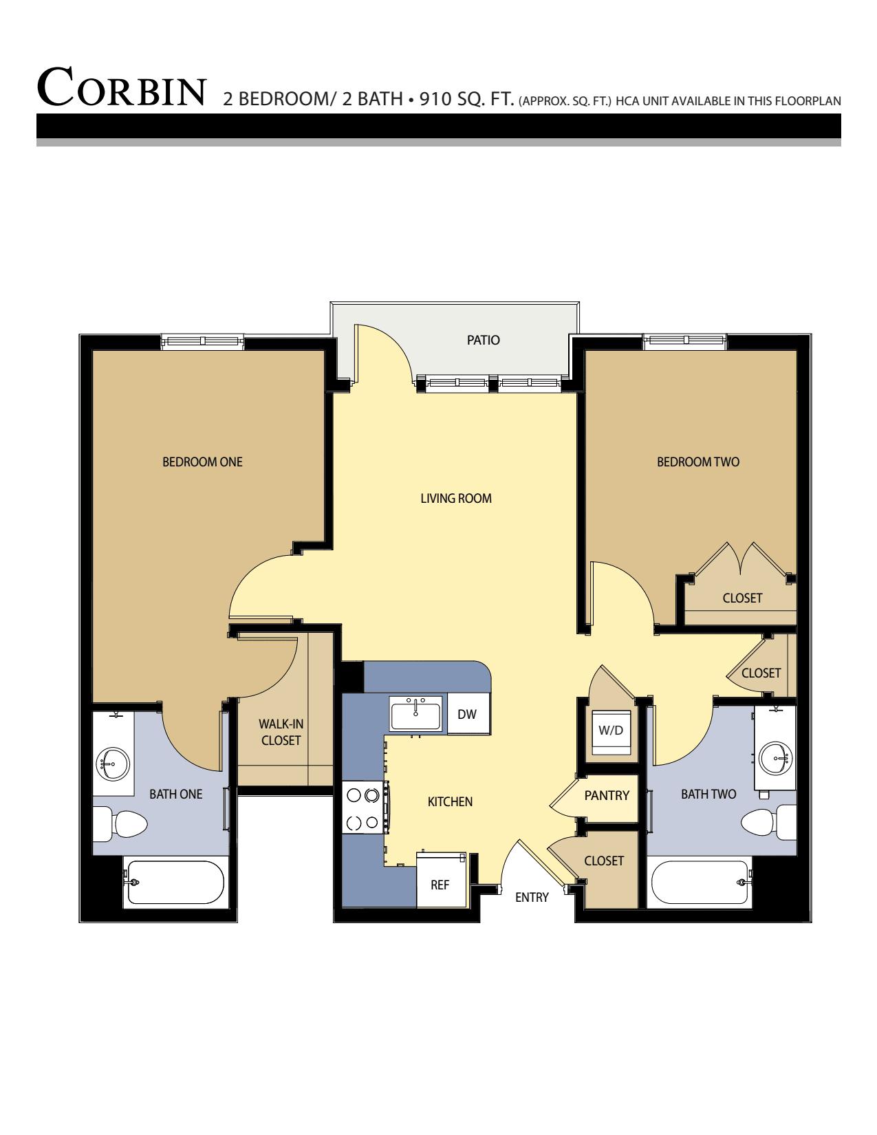 CORBIN floor plan - 2 Bed / 2 Bath (910 Sq Ft)