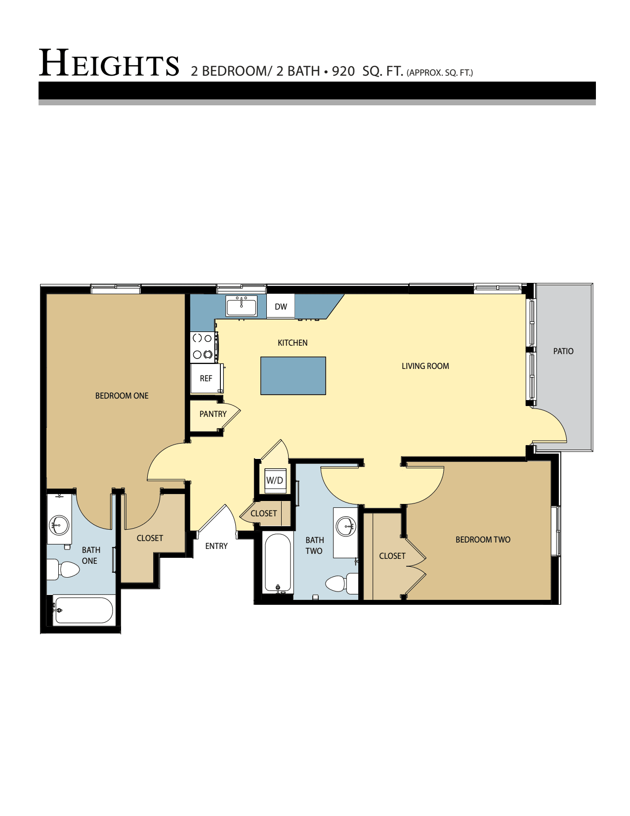 HEIGHTS floor plan - 2 Bed / 2 Bath (920 Sq Ft)