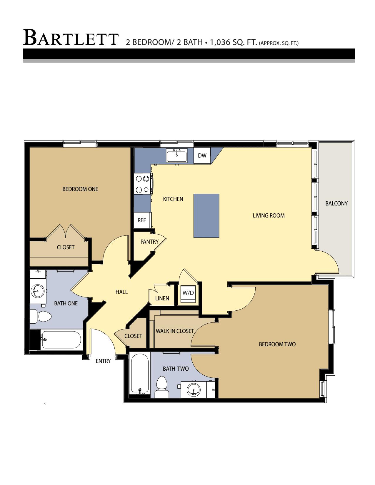 BARTLETT floor plan - 2 Bed / 2 Bath (1,036 Sq Ft)