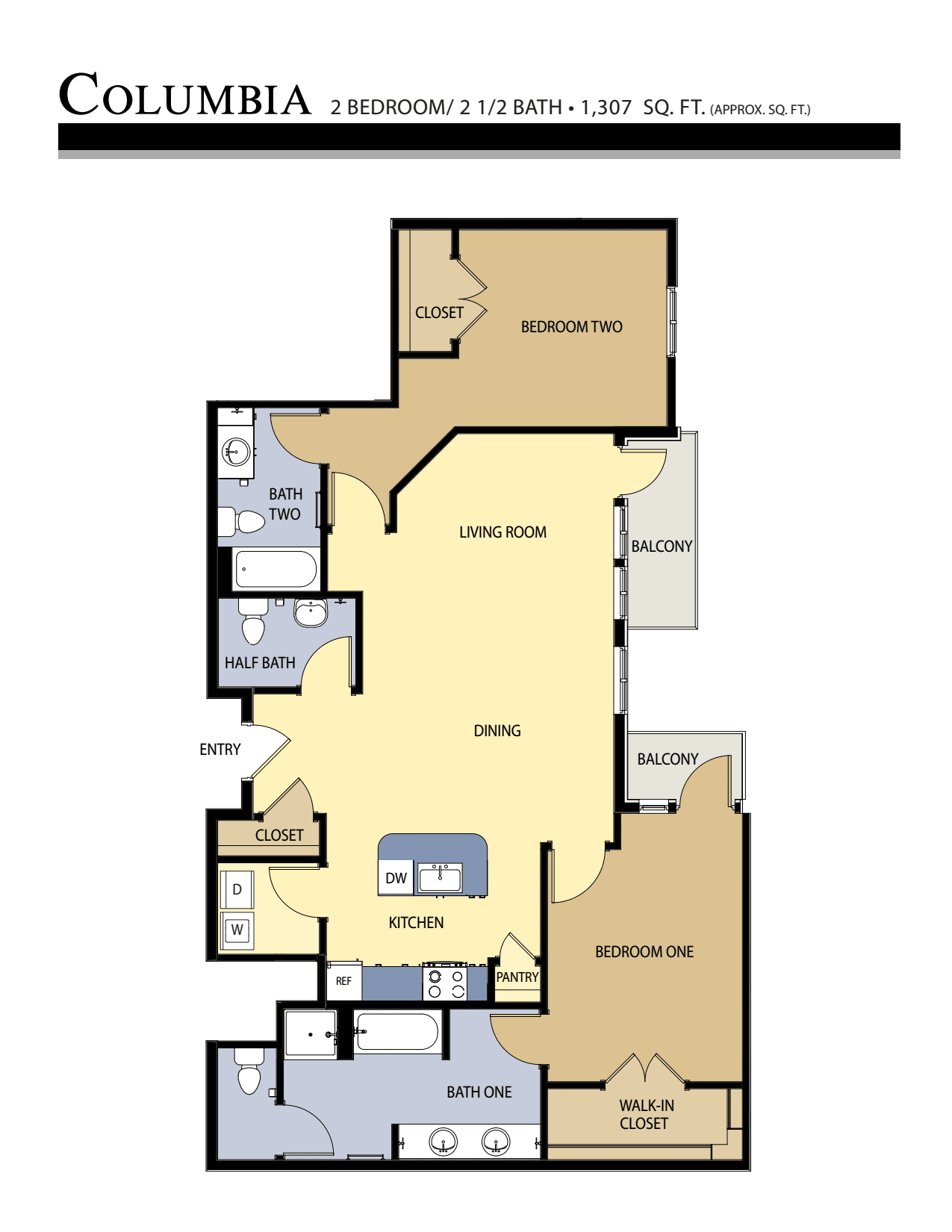 Columbia floor plan - 2 Bed / 2.5 Bath (1,037 Sq Ft)