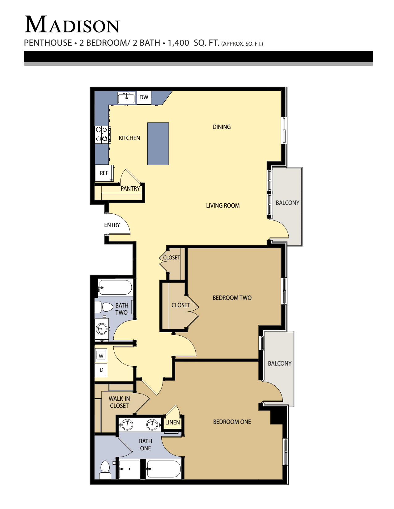 Madison floor plan - 2 Bed / 2 Bath (1,400 Sq Ft)