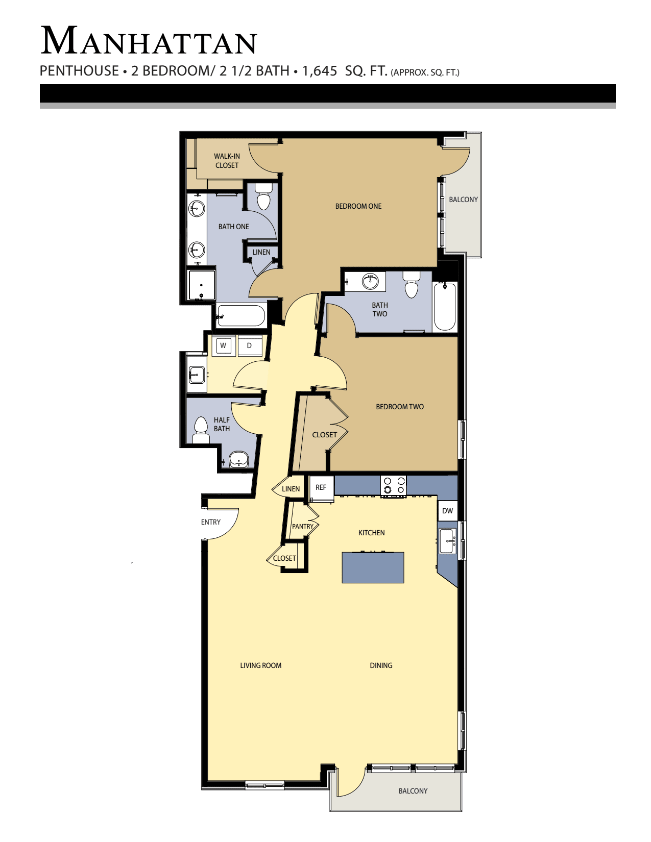 Manhattan floor plan - 2 Bed / 2.5 Bath (1,645 Sq Ft)