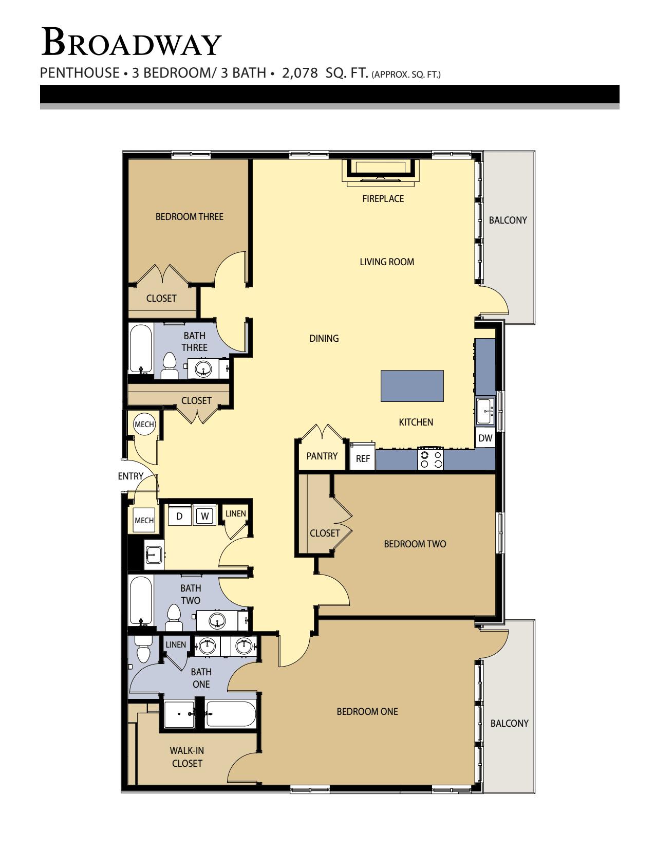 Broadway floor plan - 3 Bed / 3 Bath (2,078 Sq Ft)