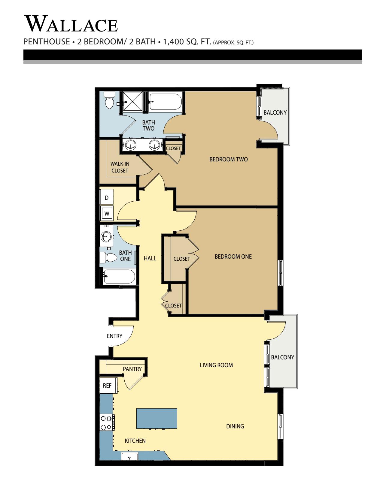 Wallace floor plan - 2 Bed / 2 Bath (1,400 Sq Ft)