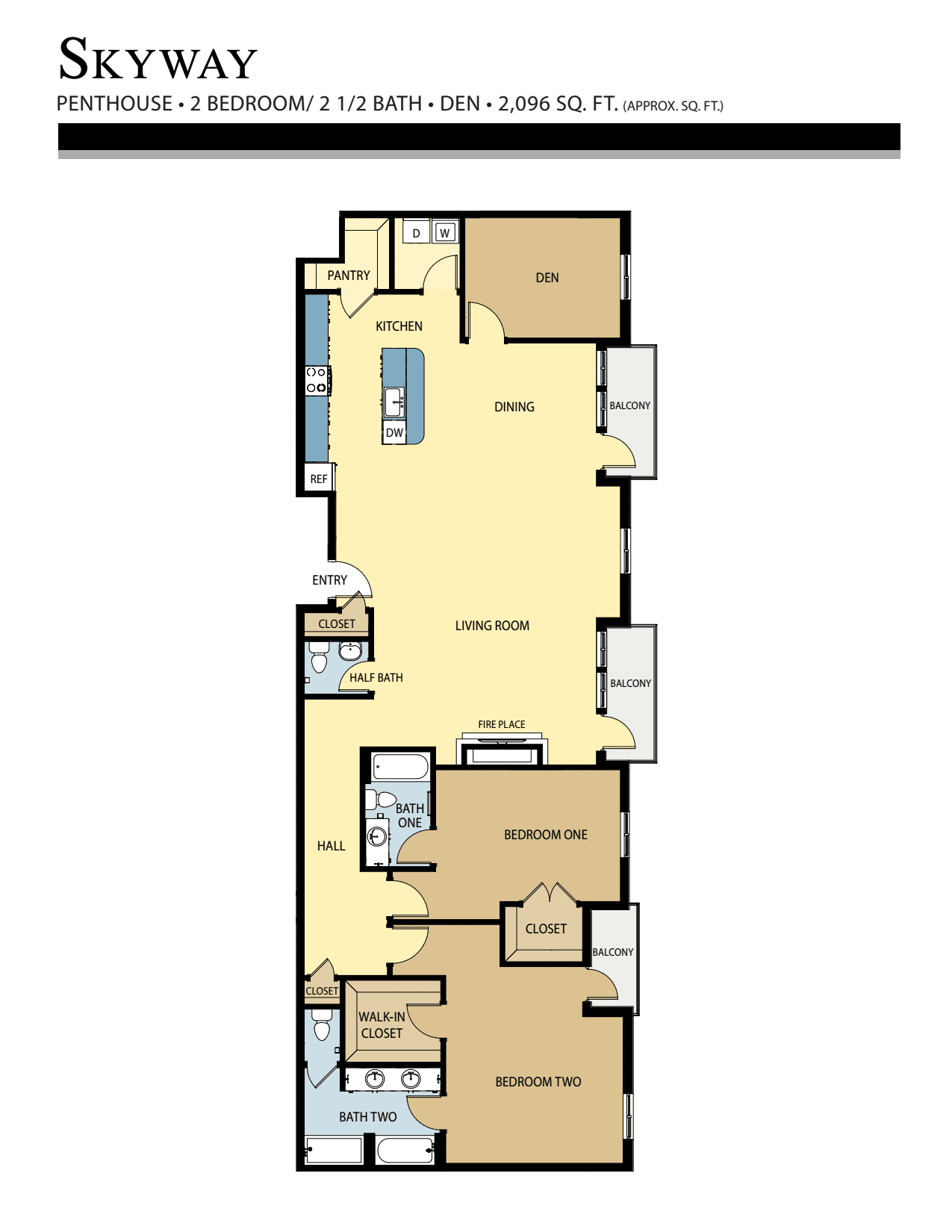 Skyway floor plan - 2 Bed w/ Den / 2 Bath (2,096 Sq Ft)