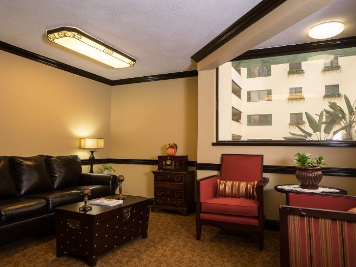 Spacious living room for our senior living residents to enjoy at The Meridian at Westwood