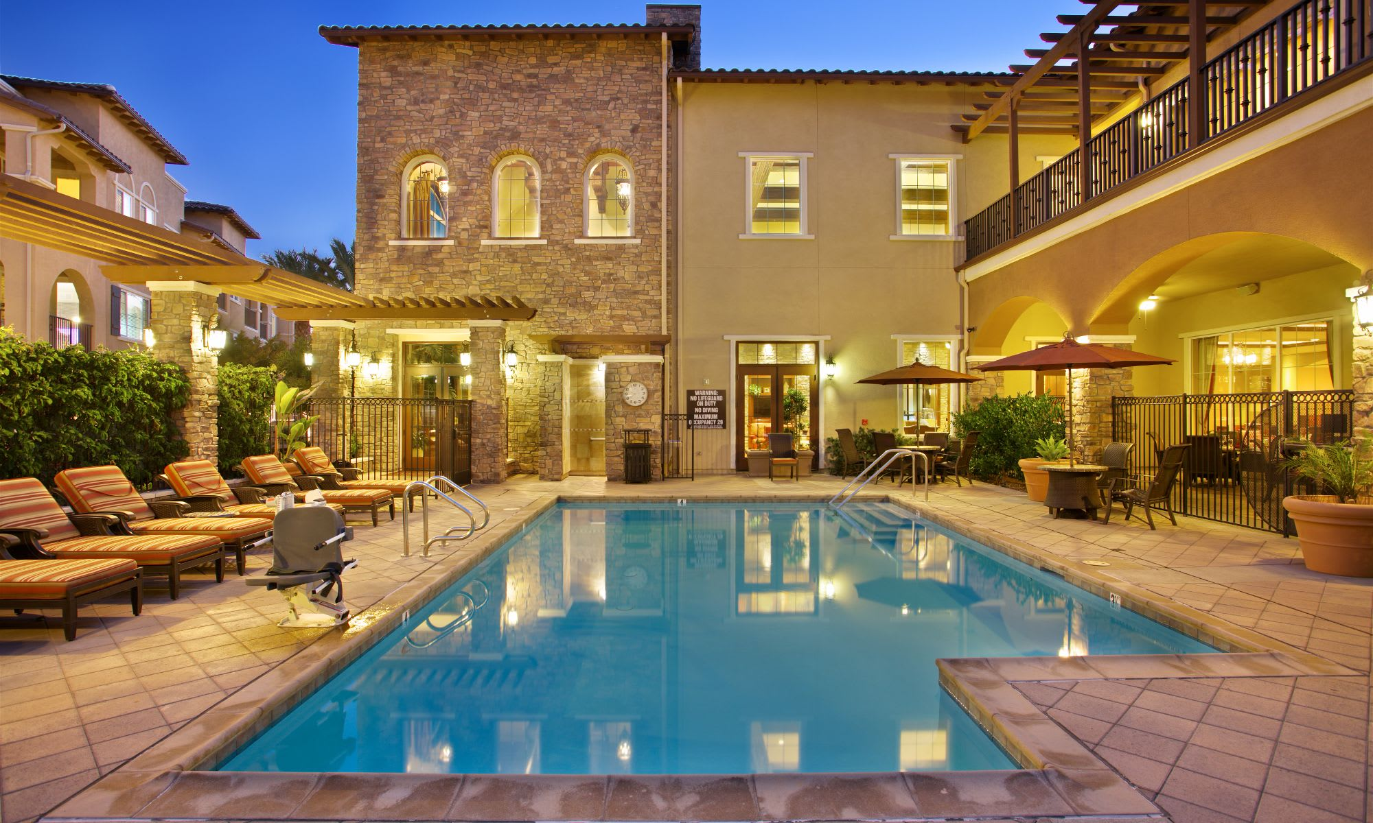 Residents can enjoy our swimming pool at The Meridian at Lake San Marcos