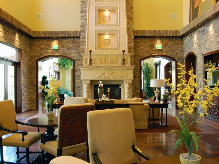 luxurious living room at The Meridian at Lake San Marcos in San Marcos, CA