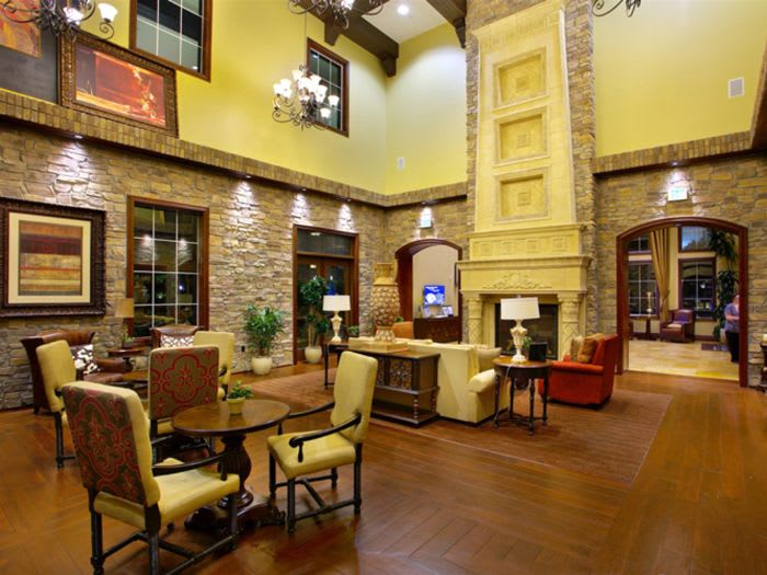 living room for our senior living residents to enjoy at The Meridian at Lake San Marcos in San Marcos, CA