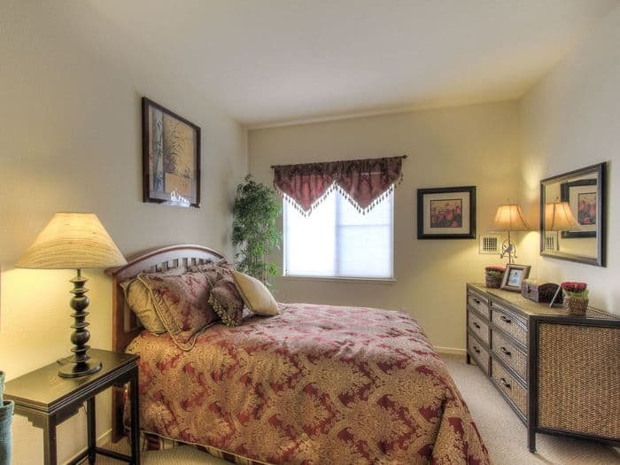 comfortable bedroom at Pacifica Senior Living Union City in Union City, CA