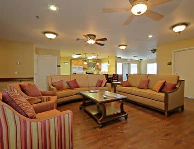 Lounge and kitchen at Pacifica Senior Living Tucson