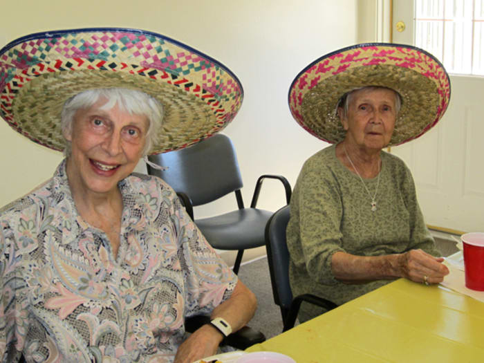 Residents at Pacifica Senior Living Tucson partake in salsa tasting