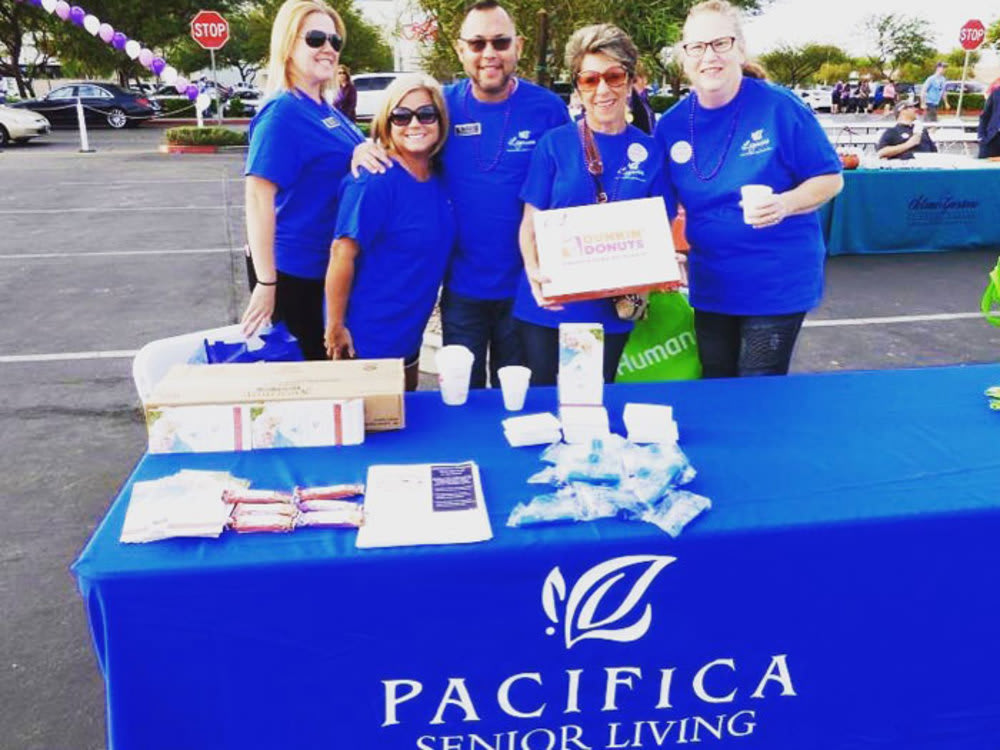 Pacifica Senior Living Spring Valley employees participate in a Walk to End Alzheimer's Activity