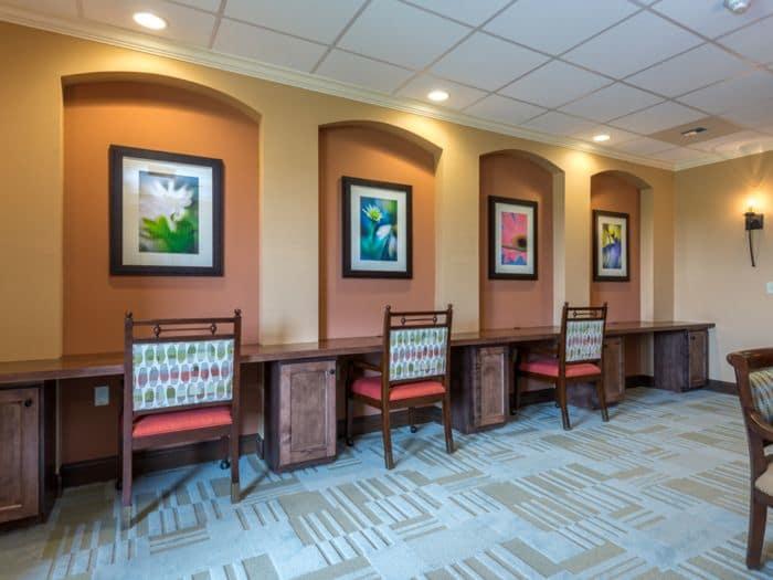 luxurious hallway at Pacifica Senior Living Santa Fe in Santa Fe, NM