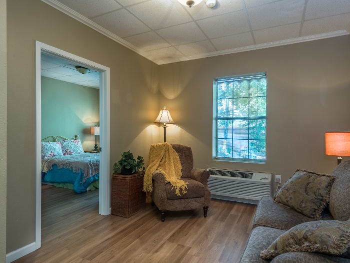 well decorated bedroom at Pacifica Senior Living Santa Fe in Santa Fe,NM