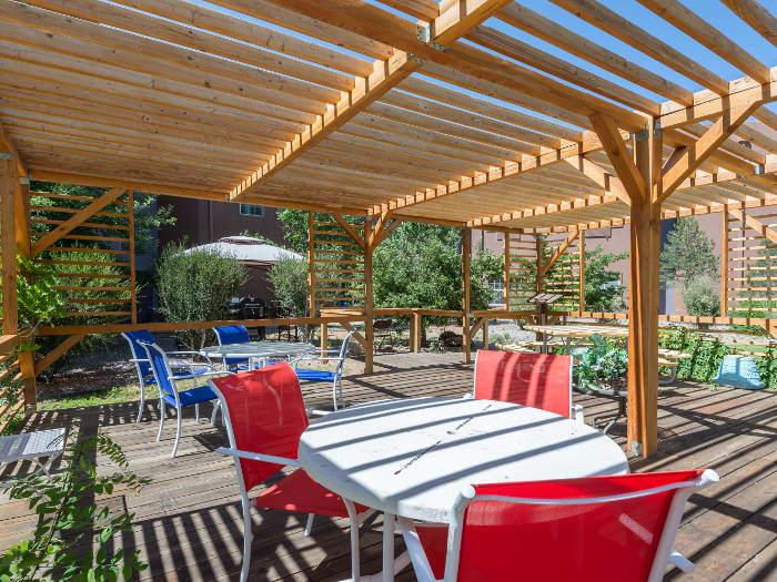 Covered patio at Pacifica Senior Living Santa Fe