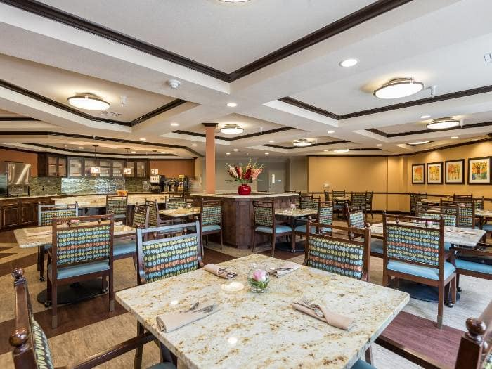 Beautiful dining room, where Pacifica Senior Living Santa Fe offers a full-service dining program