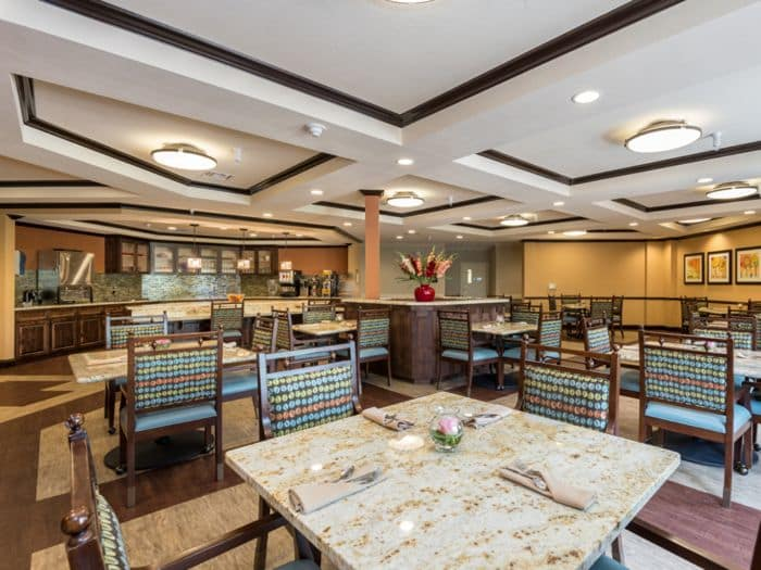 spacious dining hall at Pacifica Senior Living Santa Fe in Santa Fe, NM