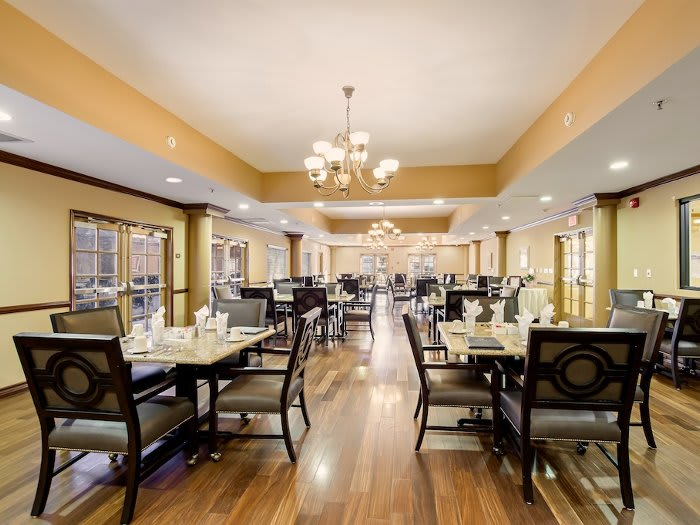 Spacious dining hall at Pacifica Senior Living Santa Clarita in Newhall, CA