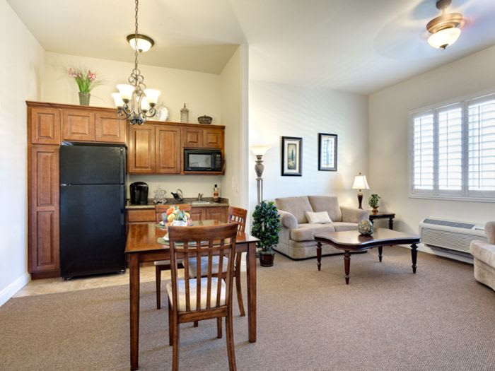 kitchen living room combo at Pacifica Senior Living San Martin in Las Vegas, NV
