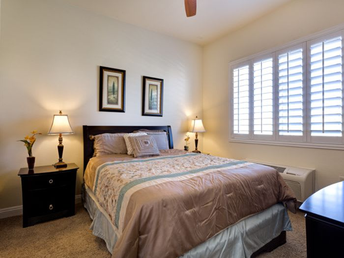 well decorated bedroom at Pacifica Senior Living San Martin in Las Vegas, NV