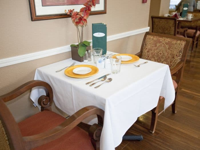 dining table setting at Pacifica Senior Living San Leandro in San Leandro, CA