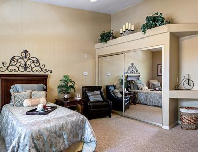 Spacious bedroom at Pacifica Senior Living Regency in Las Vegas, NV