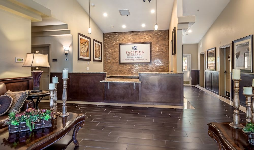 Beautiful lobby at Pacifica Senior Living Regency in Las Vegas, NV