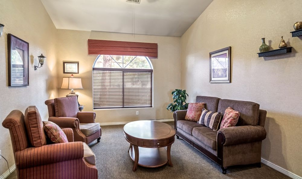 Spacious living room at Pacifica Senior Living Regency in Las Vegas, NV