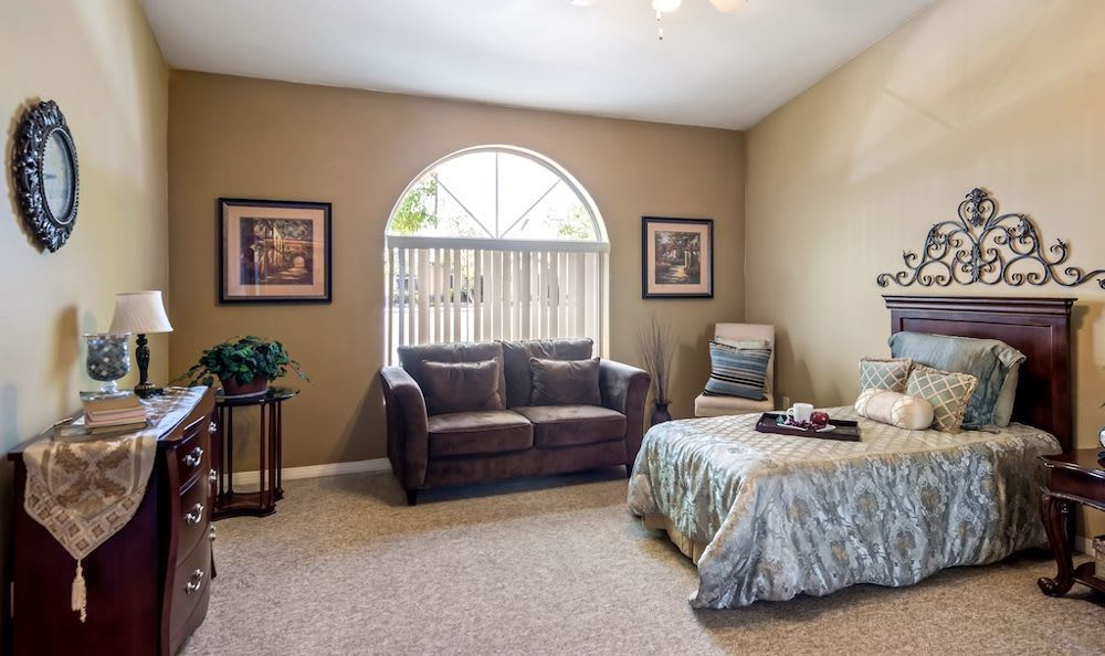 Modern bedroom at Pacifica Senior Living Regency in Las Vegas, NV