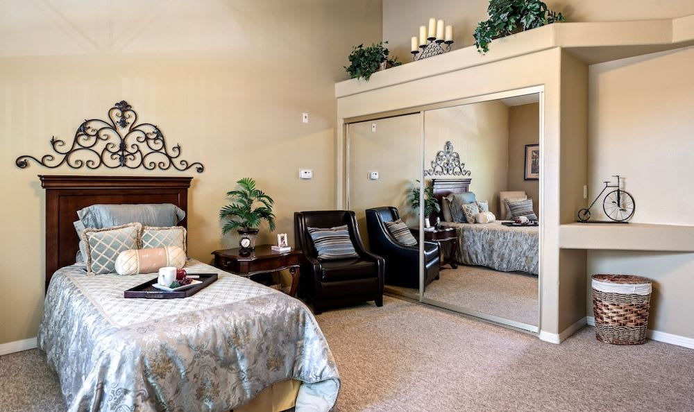 Beautiful bedroom at Pacifica Senior Living Regency in Las Vegas, NV