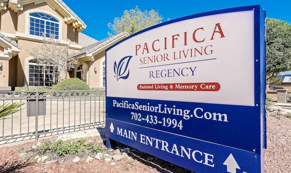 Beautiful entrance at Pacifica Senior Living Regency in Las Vegas, NV