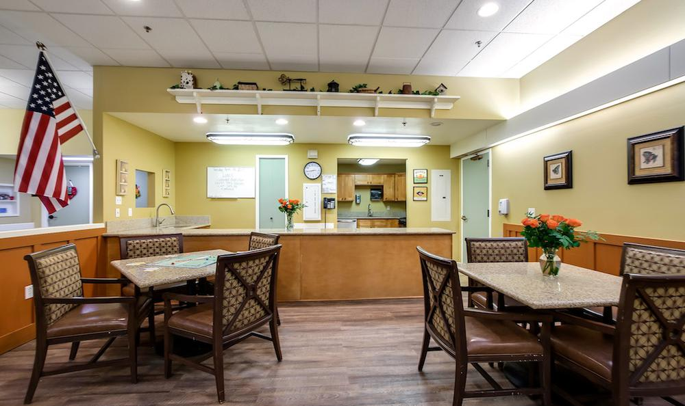 Beautiful dining room at Pacifica Senior Living Portland in Portland, OR
