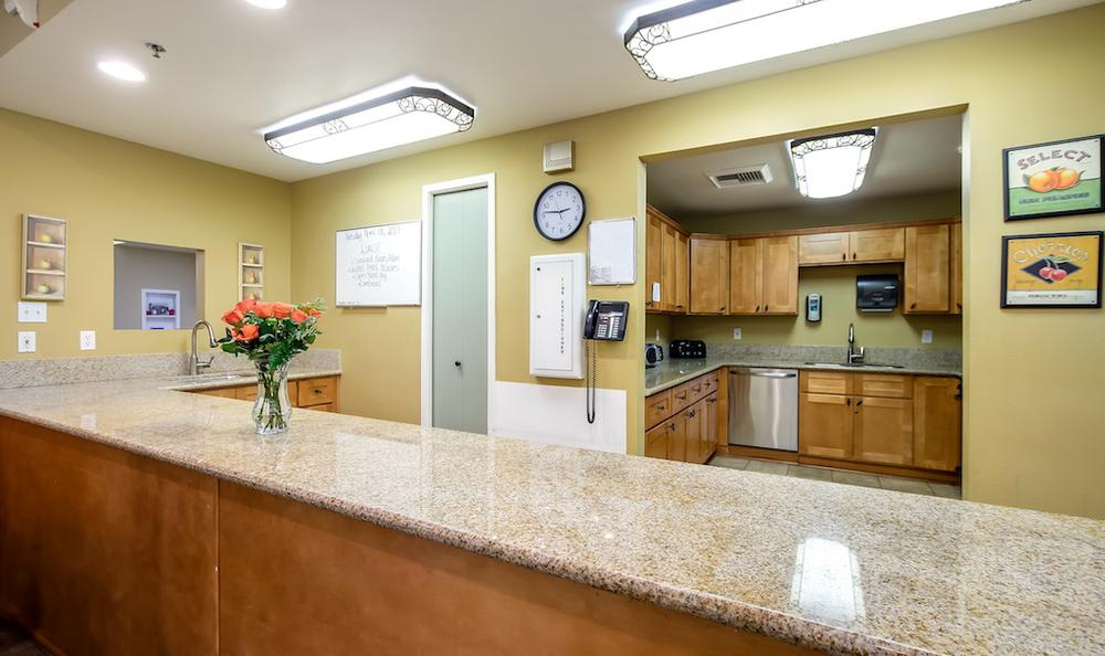 Spacious kitchen at Pacifica Senior Living Portland in Portland, OR