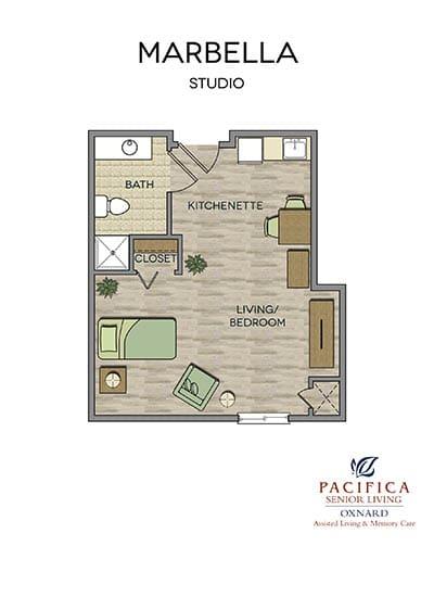 Marbella floor plan at Pacifica Senior Living Oxnard in Oxnard, CA