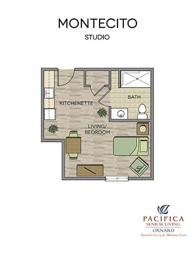 Montecito floor plan at Pacifica Senior Living Oxnard in Oxnard, CA
