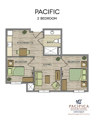 Pacific floor plan at Pacifica Senior Living Oxnard in Oxnard, CA