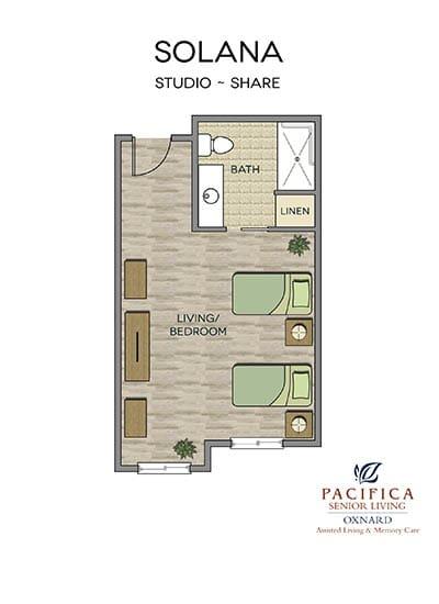 Solana floor plan at Pacifica Senior Living Oxnard in Oxnard, CA