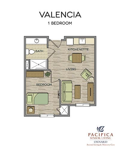 Valencia floor plan at Pacifica Senior Living Oxnard in Oxnard, CA