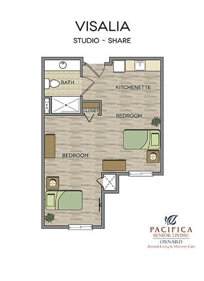 Visalia floor plan at Pacifica Senior Living Oxnard in Oxnard, CA