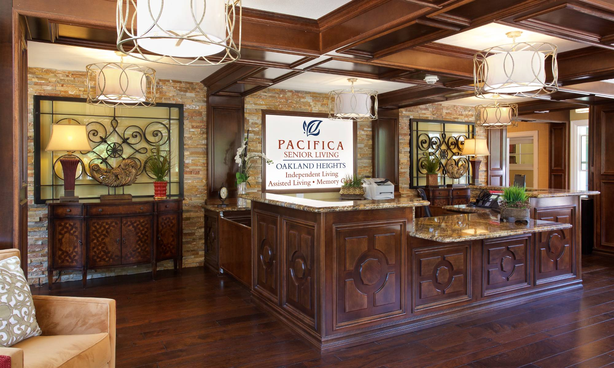 Pacifica Senior Living Oakland Heights front desk